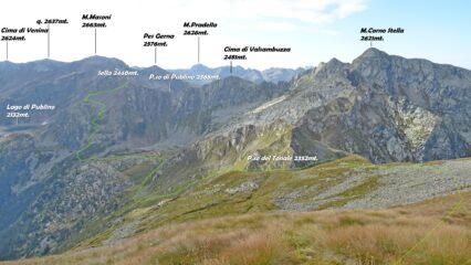 In giallo la traccia che scende in Val del Livrio e sale al P.so di Publino, vista da Cima Tonale 2544mt.