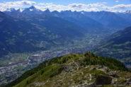 Veduta sulla Valle Centrale dal sentiero di discesa dal mont Mary