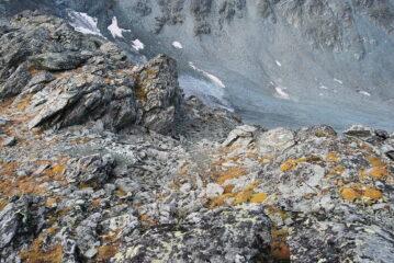 Il sentiero che scende sul versante svizzero verso la Cabanne de Chanrion