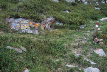 Il bivio proprio sotto il Colle della Mologna Piccola, con il sentiero, forse l'E69a, che torna verso il Colle Bosa, al Lago Riazzale