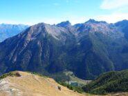 Dalla cima verso il Vallone di Clavalité, con Chermontane, Ruvi e Avic.