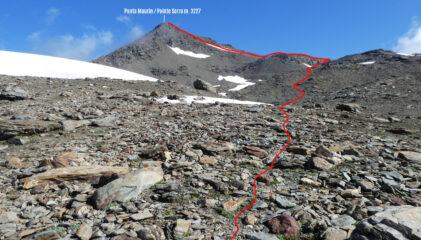 parte alta dell'itinerario di salita per la Punta Maurin osservato dalla conca sottostante il Colle del Lago Nero