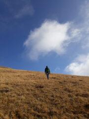 Risalendo il ripido versante erboso