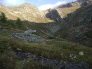 Alpe Cretoux; in basso a destra i segni che indirizzano verso il torrente