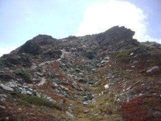 traccia verso la cima