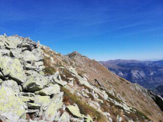 Attraversando la cresta verso la cima
