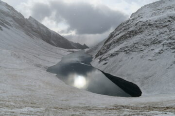 il lago Licony salendo verso il colle