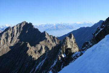 sullo sfondo dal Combin al Monte Rosa