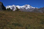 Salendo verso il Colle Pinter gran protagonista è il Monte Rosa